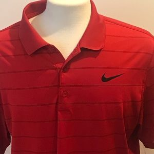 Nike   Dri Fit   RED AND BLACK GOLF POLO Shirt
